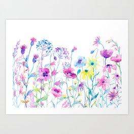 Watercolor Field of Pastel Art Print