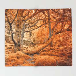 Glowing Amber Forest Throw Blanket