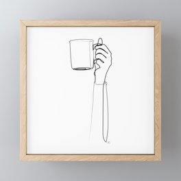""""""" Kitchen Collection """" - Hand Holding Hot Cup Of Coffee/Tea Framed Mini Art Print"""