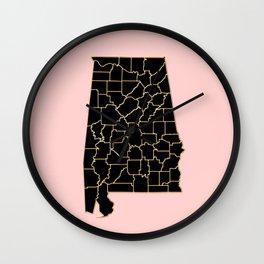 Alabama map Wall Clock