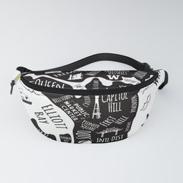 Seattle Illustrated Map in Black and White - Single Print Fanny Pack
