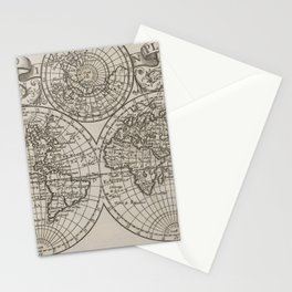 Vintage Map of The World (1701) Stationery Cards