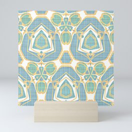 Turquoise Blue Mint Green Batik Style Kaleidoscope Mosaic Pattern Mini Art Print