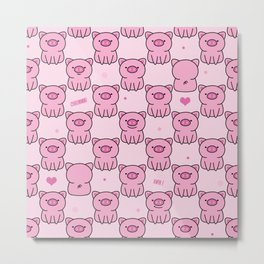 Cute pink piglets Oink Oink! Metal Print