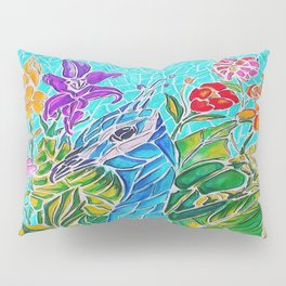 Peacock in Flowers Pillow Sham