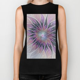Fantasy Flower, Colorful Abstract Fractal Art Biker Tank
