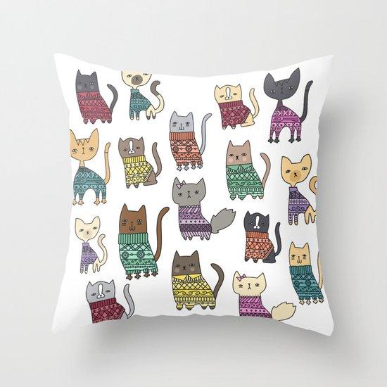 sweater cats Throw Pillow