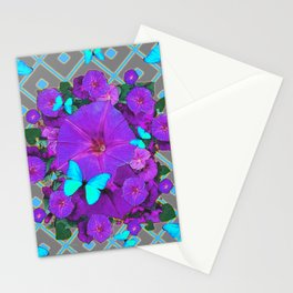 Shimmering Blue Butterflies  Purple Floral Art Stationery Cards
