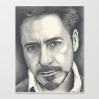 robert downey jr Canvas Prints featuring Robert Downey Jr by Heather Andrewski