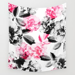 Rose Garden in Pink and Gray Wall Tapestry