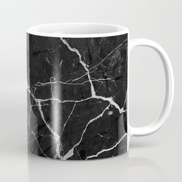 Black Suede Marble With White Lightning Veins Coffee Mug