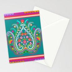 folk turquoise damask Stationery Cards
