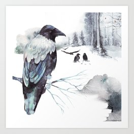 Cryptical Crows In The Whispering Winter Woods Art Print