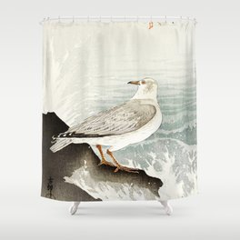 Seagulls at the beach - Vintage Japanese woodblock print Shower Curtain