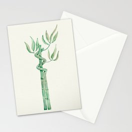 Green bamboo watercolor Stationery Cards