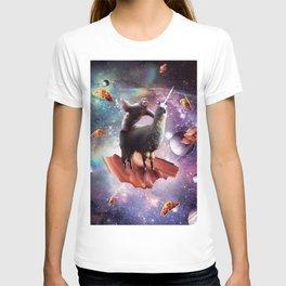 Space Sloth Riding Llama Unicorn - Bacon & Taco T-shirt