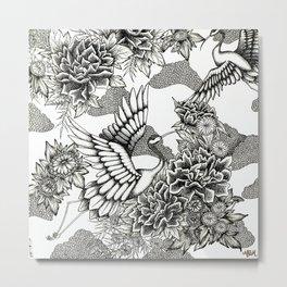 Cranes (B&W) Metal Print