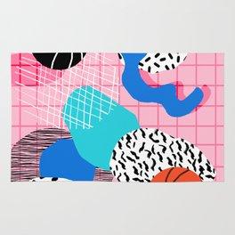 Hot Hand - memphis retro throwback neon grid pattern minimal modern pop art basketball sports Rug