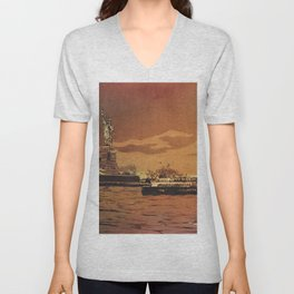 Statue of Liberty on Liberty Island at sunset- New York City, New York.  Watercolor painting Unisex V-Neck