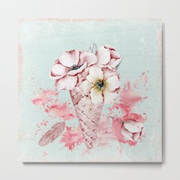 Pink & Teal Summer Fun Flower Ice Cream Waffle -Illustration Metal Print