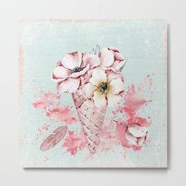 Pink & Teal Summer Fun Flower Ice Cream Waffle -Illustration Metal Print