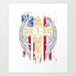 USA Flag Paramedic Caduceus EMT EMS Nurse Doctor Medicine Gift Art Print