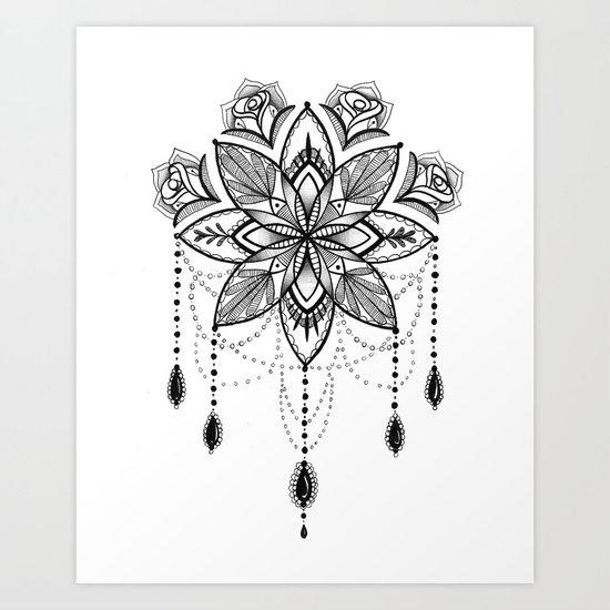 Flowing Mandala Chandelier Drawing Art Print By Robin