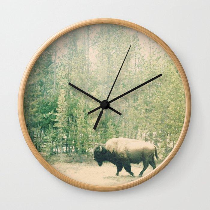 bison I Wall Clock