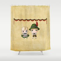 german Shower Curtains featuring German Chibis by artwaste