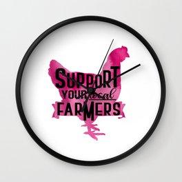 Purple Chicken Support your Local Farmer Ranch Farm Design Wall Clock