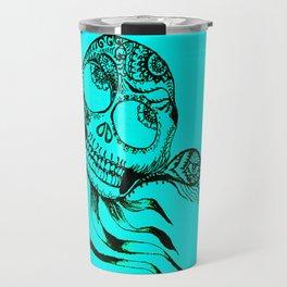 49. Henna Skull with Eye Flying in the Halloween Night as Metal Style Travel Mug