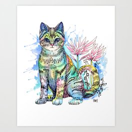 Rainbow Cat with water lily Art Print