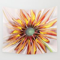sunflower Wall Tapestries featuring Sunflower by Klara Acel