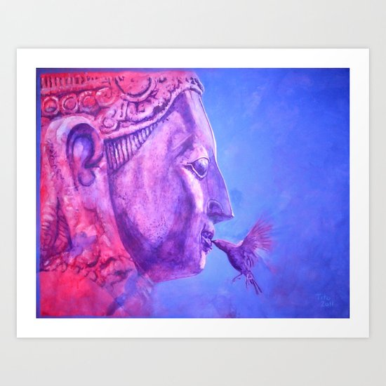 Buddha Kiss (Original) Art Print