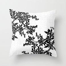 Black and White Leaf Toile Throw Pillow