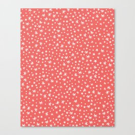 teeny white flowers on pink Canvas Print