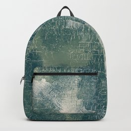 Grunge Abstract Art in Teal, Olive Green and Cream Backpack
