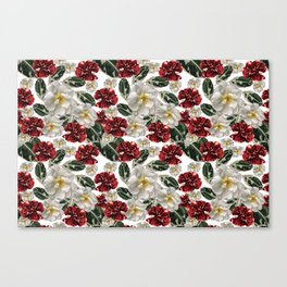 Veggie pattern of pomegranate fruits and flowers of wild white rose Canvas Print