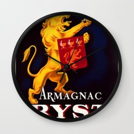 Vintage 1945 French Armagnac Ryst Cognac Advertisement Poster Wall Clock