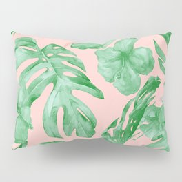 Island Life Coral Pink + Green Pillow Sham