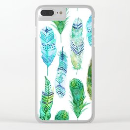 Watercolor Teal and Green Feathers Clear iPhone Case