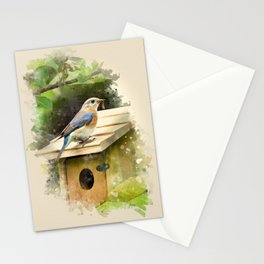 Watercolor Bluebird Art Stationery Cards