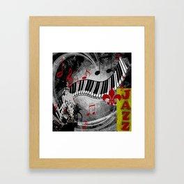 JAZZ PIANO KEYBOARD MUSIC Framed Art Print