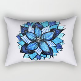 Abstract Blue Flower Ink Drawing Rectangular Pillow