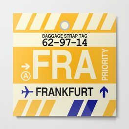 FRA Frankfurt • Airport Code and Vintage Baggage Tag Design Metal Print
