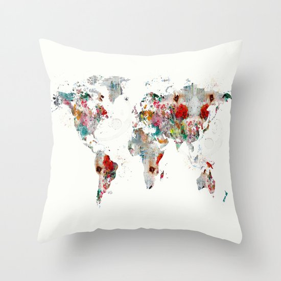 Throw Pillows With World Map : world map abstract Throw Pillow by Bri.buckley Society6