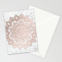 Boho Mandala - Rosegold on Marble Stationery Cards