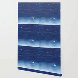 Follow the garland of stars, ocean, sailboat Wallpaper