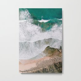 Waves of the ocean | Ericeira fine art travel photography | sea drone wall art Metal Print
