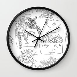Illustrated Plant Faces in White Wall Clock